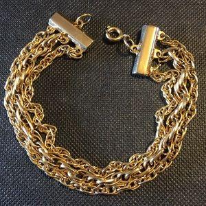 Vintage 3-strand gold tone chain bracelet